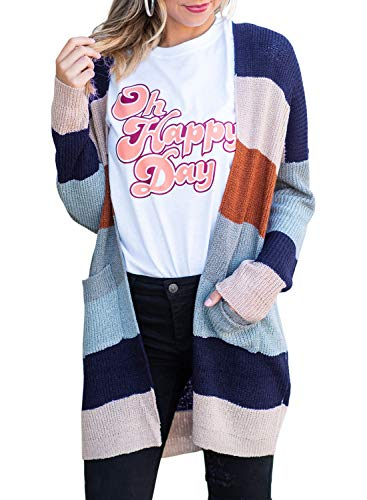 (ZESICA Women's Long Sleeve Rainbow Color Block Open Front Drape Oversized Knitted Sweater Cardigan with Pockets)