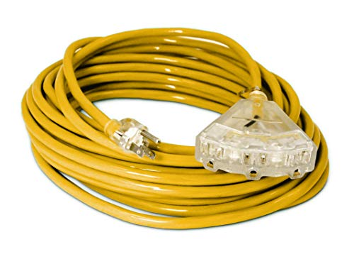 50-ft 14/3 Heavy Duty 3-Outlet Lighted SJTW Indoor/Outdoor Extension Cord by Watt's Wire - Yellow 50' 14-Gauge Grounded 15-Amp Three-Prong Power-Cord (50 foot 14-Awg)