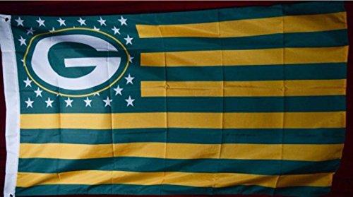 Green Bay Packers Stars & Stripes 3 Feet X 5 Feet Football Flag Banner Bar Decor Man Cave (Original Version)
