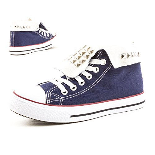 High Damen Sneaker Textil Canvas Nieten Turnschuhe Top Schuhe Navy POqaOwFx