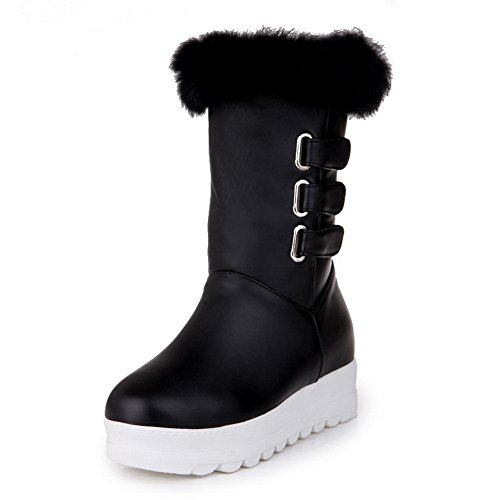 1TO9 Womens Buckle Platform Fur Collar Heighten Inside Imitated Leather Boots