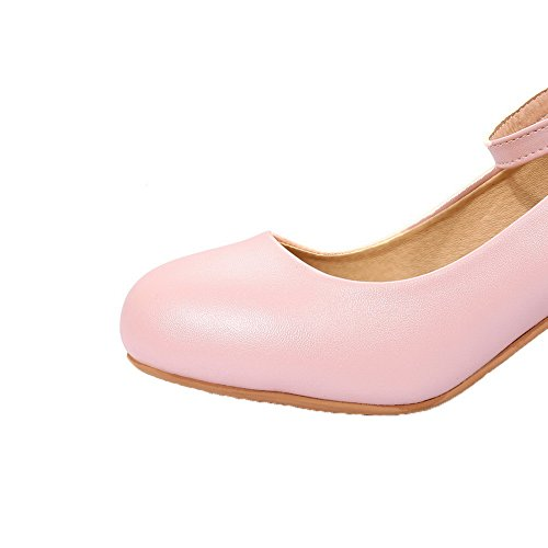PU Heels Women's 41 Shoes Pink Buckle Kitten Toe Solid WeiPoot Closed Pumps XOBqCwxw