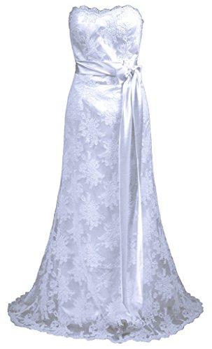 RohmBridal Women's Strapless Lace Sheath Wedding Dress Bridal Gown White 22