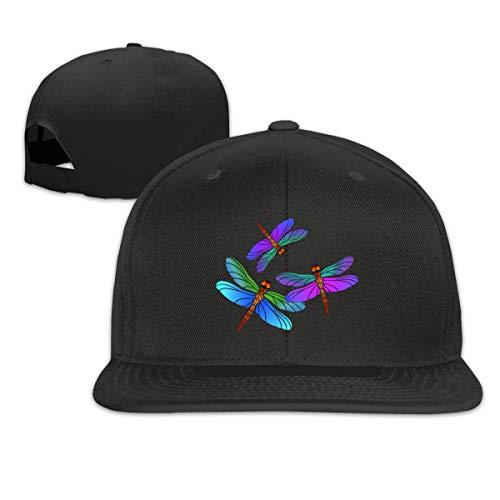 - Arsmt Dragonfly Three Flat Bill Baseball Caps Adjustable Snapback Hat Men's Black