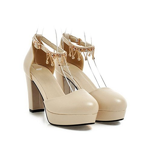 BalaMasa Ladies Metal Chain Round-Toe Soft Material Sandals Beige RUVEF5qAwo