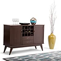 Wood Storage Sideboard Buffet 12 Wine Bottle Cubbies, Two Side Cabinets, Sturdy Construction, Mid Century Style, Wine Rack, Perfect For Dining Room, Kitchen, Restaurant, Brown Color + Expert Guide