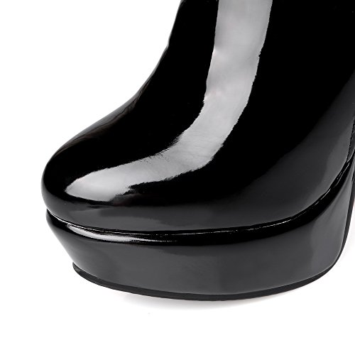 AllhqFashion Mujeres Tacón Alto Sólido Puntera Redonda Cremallera Botas con Metal Negro