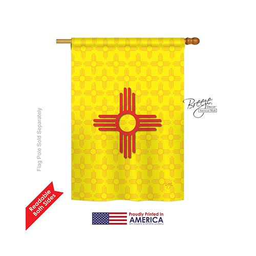 Breeze Decor H108073 New Mexico Americana States Double Side House Flag, 28″ x 40″, Multicolor