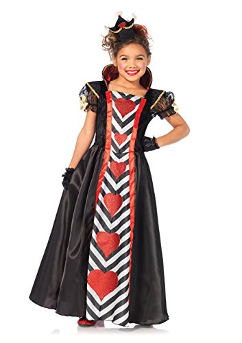 Leg Avenue Wonderland Queen Girls Costume, Black/Red, (Childrens Queen Of Hearts Costumes)