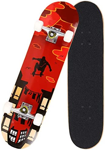 Hosmat 31 Complete Pro Skateboard 7 Layer Canadian Maple Wood Skateboard Deck with Double Kick Concave Design for Kids Adults Beginner – Age 5 Up