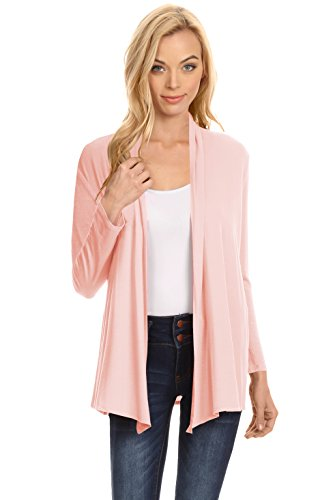 Simlu Womens Open Drape Cardigan reg and Plus Size Cardigan Sweater Long Sleeves - USA Peach Large (Color Team Jacket)