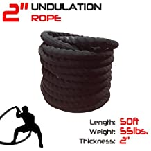 50' Premium Undulation Rope / Battle Rope with Sleeve - 2""