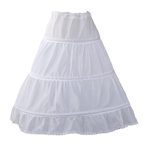 [White Prom Use Petticoat for Little Age Girls One Size] (Petticoat Crinoline Slip)