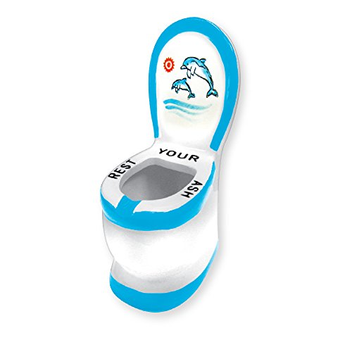Rockin Gear Ashtray - Ceramic Dolphins Toilet Ashtray - Funny Novelty 'Rest Your Ash' Cigarette Ashtray (Blue)