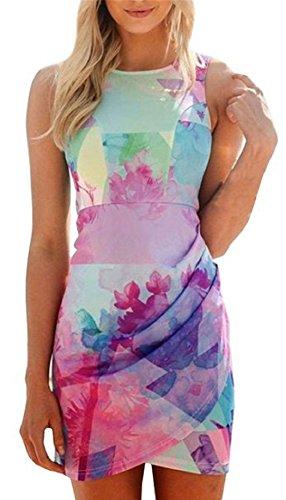 Print Strappy Dress (YABINA Women's Summer Sleeveless Floral Print Wrap Dress (US12,)