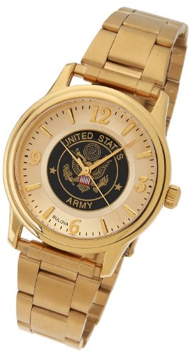 New Men's US Army Gold Plated Bulova US Armed Forces Military Watch