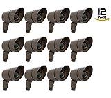 Westgate Lighting LED Directional Landscape Die-Cast Housing - IP67 and IP54 Level Rating-12V AC- 36 Degree Beam Angle- Convex Lens - 5 YR Warranty (12, Black)