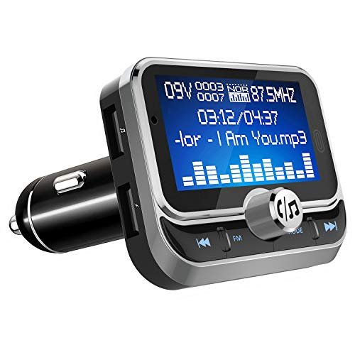 """FM Transmitter Bluetooth Car, LeeQin 1.8"""" Disply Bluetooth FM Transmitter Wireless Audio Transmitter Adapter Car Kit With 2 USB Ports, TF Card Slot, 4 Music Playing, Hands Free Calls, AUX ()"""