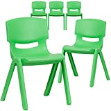 Flash Furniture 5 Pk. Green Plastic Stackable
