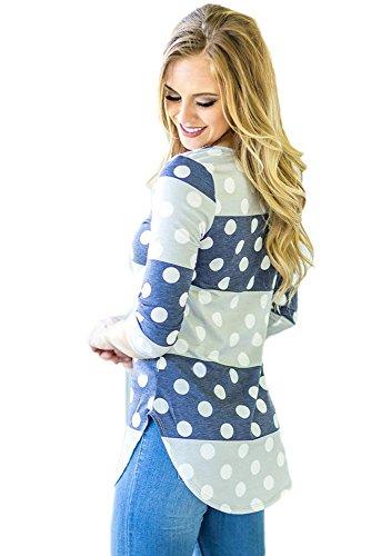 Neuf Bleu marine Gris Bold Stripe Polka Dot Blouse de soirée pour femme Tenue décontractée d'été Taille UK 8EU 36