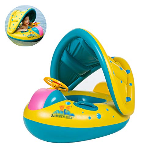 XULONG Baby Swimming Ring, Baby Swimming Inflatable Safety Chair Infant Swimming Boat Detachable Sun Awning Water Toy for 3 Months to 2 Years Old Baby