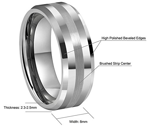 Crownal 6mm 8mm 10mm Tungsten Carbide Wedding Band Ring Engraved ''I Love You'' Men Women Brushed Strip Beveled Edge (8mm,12) by CROWNAL (Image #3)