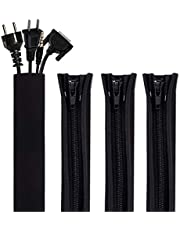 """GOMILE 4 Pack Cable Management Sleeves Cord Organizer Wrap with Zipper 19.5"""" for TV, Computer, Office, Home Entertainment"""
