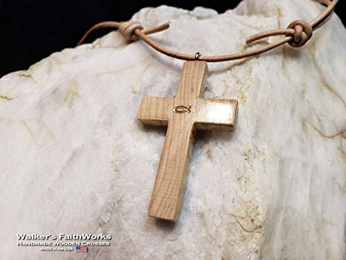 Maple Wood Cross Necklace w/Adjustable Beige Leather Cord: Quickly Adjust from a Long Wooden Cross Pendant Necklace to Choker, Ideal Gift for Christian Women or Men and Proudly Handmade in the USA!