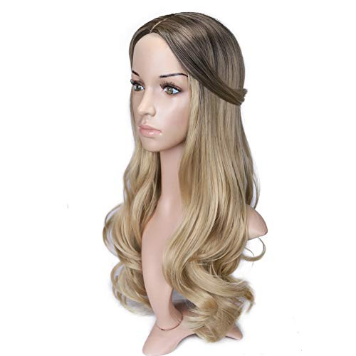 Fani Wig Long Curly Wavy Dark Brown Wigs Middle Part 22 Inch Glamorous Women Wigs Synthetic Full Wig with Free Wig Cap Dark Brown