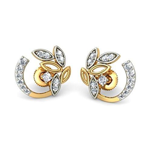 Or jaune 18K 0.25CT TW White-diamond (IJ   SI) Boucles d'oreille à tige
