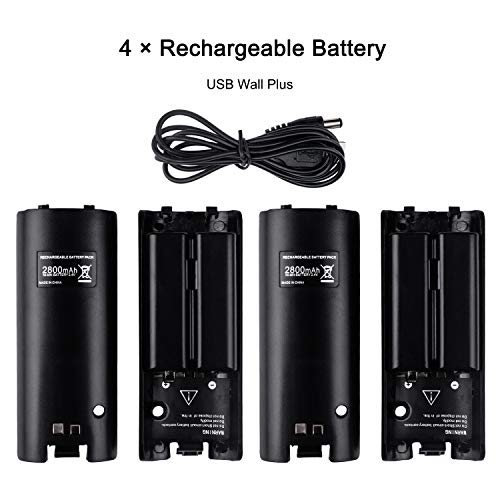 Charging Station for Wii Remote, TechKen Controller Charger Docking Station with Four 2800mAh Rechargeable Batteries (Updated Version)