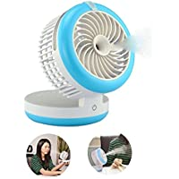 Table Fans,Portable Misting Fan,Mini Humidifier Fan Cooling Mist Fan Humidifier Personal Fan Desktop Fan Rechargeable with Built-in Battery (Blue)
