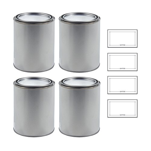 1 Quart Empty Steel Paint Can with Lid (Untreated and Unlined) Pack of 4 + (Steel Paint Cans)