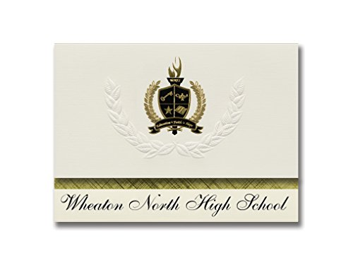 Signature Announcements Wheaton North High School (Wheaton, IL) Graduation Announcements, Presidential style, Basic package of 25 with Gold & Black Metallic Foil seal by Signature Announcements