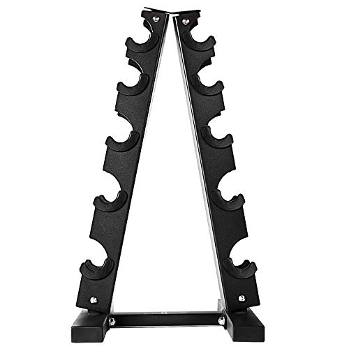 Fitness Republic Solid Steel Dumbbell Rack Holder, A-Frame Dumbbell Storage Racks, Free Weights Dumbbells Set for Home Gym Exercise, 5 Tier Weight Racks for Dumbbells, Weight Tower, 5 Dumbbell Holder