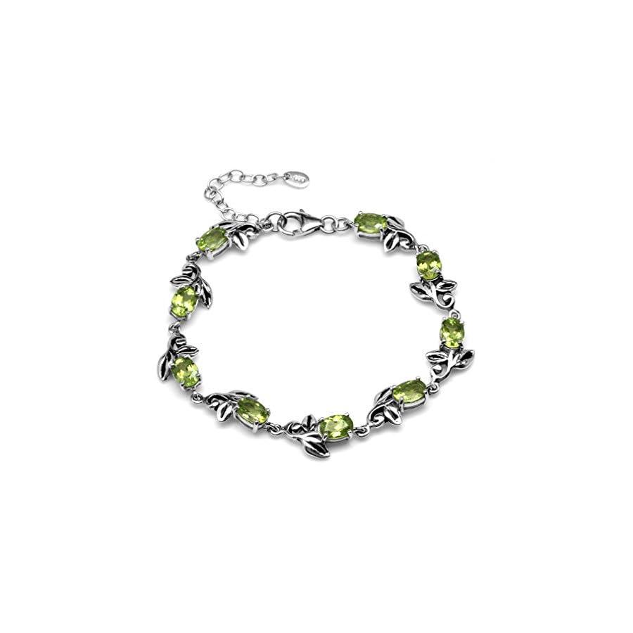 7.02ct. Natural Peridot 925 Sterling Silver Leaf Vintage Inspired 7 8.5 Inch Adjustable Bracelet