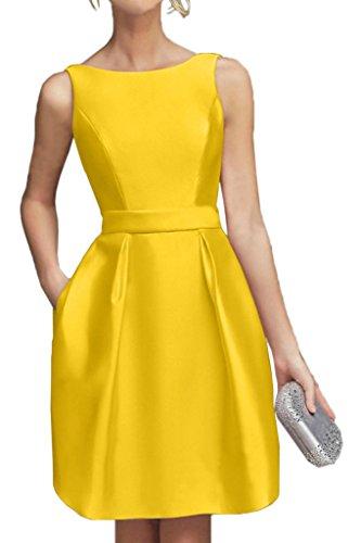 Mini Satin Kurz Abendkleider Lemon Marie Gruen La Gelb Partykleider Braut Cocktailkleider Hundkragen 6OUBySW