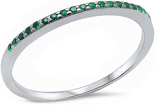 Simulated Green Emerald .925 Sterling Silver Band Ring Sizes 4-11