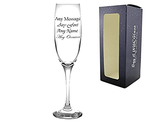 Personalised Engraved Champagne Flute 21st Birthday Gift Anniversary Wedding Amazoncouk Kitchen Home