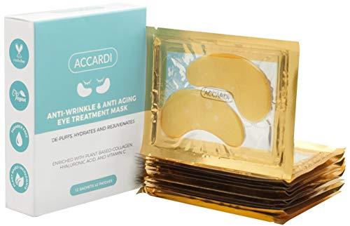 Under Eye Patches By Accardi – Anti-Wrinkle & Anti-Aging Treatment Eye Masks– Vegan Depuffing, Hydrating & Rejuvenating Eye Pads With Collagen, Vitamin C & Natural Ingredients– Gold Eye Mask 12 Pairs