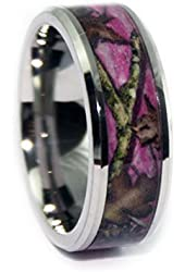 #1 CAMO Wedding Rings - Pink Camouflage Titanium Bands - Pink Camo Beveled Ring