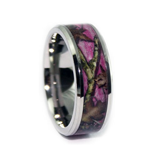 #1 Camo Bevel Titanium Pink Ring - Pink Camouflage Bands - Pink Camo Wedding Engagement Rings - Ring Size 9.5 (Real Tree Wedding Ring Set)