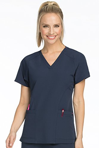 Med Couture Women's 'Air Collection' Raglan Sleeve Spirit Scrub Top, New Navy/Tango Pink, Small New Couture Collection