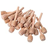 SODIAL 3 Inch mini wooden honey dipper sticks,honey Jar dispen drizzle honey and wedding party favors.(Pack of 65)