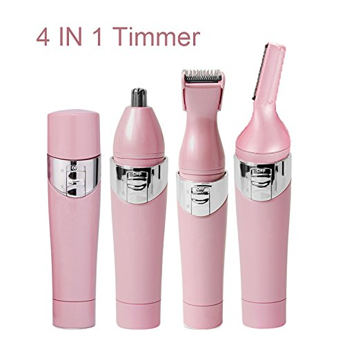 Facial Hair Removal Epilator Electric Hair Shaver-Lumcrissy 4 in1 Multi-function Portable Shaver Eyebrow Shaping Tool Nose Hair Trimmer Legs Armpit Shaving Machine Mini Epilator (Pink) (Best Shaving Machine)