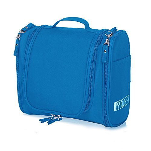 Hanging Toiletry Bag Travel Cosmetic Kit - Large Essentials Organizer - Sturdy Hook Makeup bag - Heavy Duty Waterproof for Men and Womens (Blue)