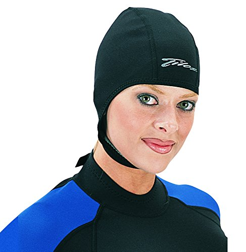 Tilos 1mm Metal-Light Coated Neoprene Adjustable Beanie for Surf Surfing Kayak Rafting Canoe Snorkel Swimming Cap Hat (Black, - With Swim Strap Cap
