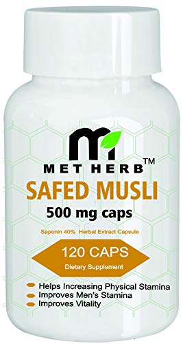 Safed Musli Extract (50% Sponins) 500mg 120 Capsules by Metherb