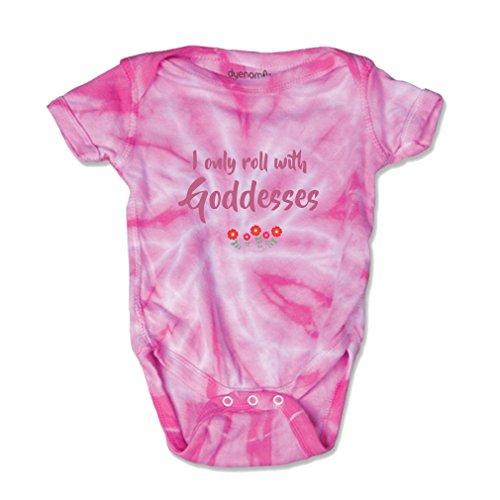 Goddess Tie (I Only Roll With Goddesses Baby Kid Tie Die Fine Jersey Bodysuit Pink 6 Months)