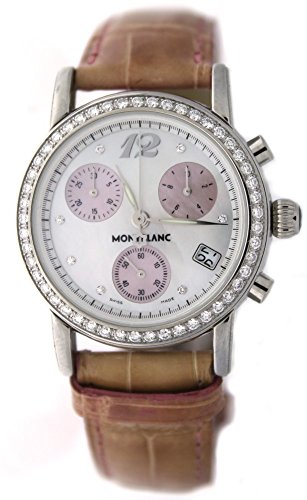 Brand New MontBlanc Star Collection Medium with White Mop Dial and Pink Chronograph Subdials with Pink Alligator Strap Style number 8455 ()